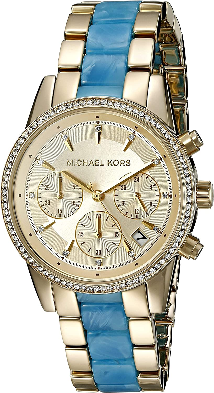 Michael Kors Womens Ritz Goldtone and Blue Acetate Chrono Watch