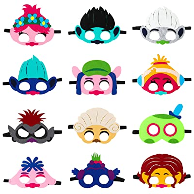 ANGOLIO 12Pcs Trolls Mask for Kids, Trolls World Tour Felt Mask Party Favors Kids Dress Up Costume Masks Trolls Cosplay Poppy Masks Photo Booth Props Kids Party Supplies Birthday Gift: Clothing