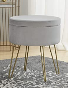 Ornavo Home Modern Round Velvet Storage Ottoman Foot Rest Stool/Seat with Gold Metal Legs & Tray Top Coffee Table - Silver