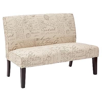AVE SIX Laguna Loveseat with Espresso Finish Solid Wood Legs, Script Fabric