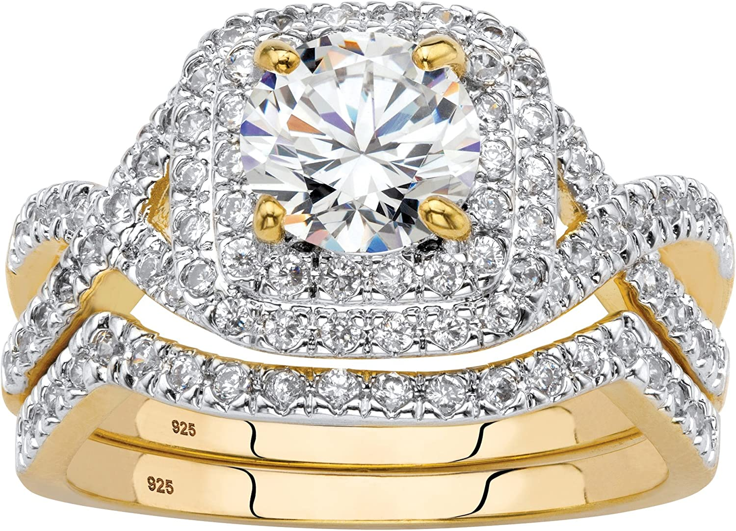14K Yellow Gold over Sterling Silver Round Cubic Zirconia Bridal Ring Set