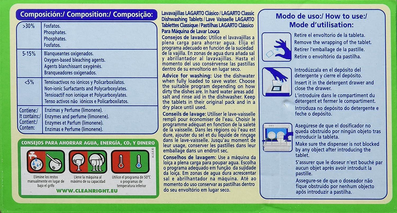 Lagarto Lavavajillas Maquina - Classico - Paquete de 4 x 40 Pastillas - Total: 160 Pastillas / 3200 gr
