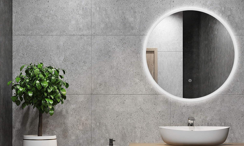 ALLDREI Badspiegel mit licht Runder Badezimmerspiegel mit LED Beleuchtung, Touch Schalter – 60 cm Rund, Wasserdicth IP44, Weiß Lichtfarbe, Farbtemperatur 6500K, Lumen 1584, Energieklasse A+