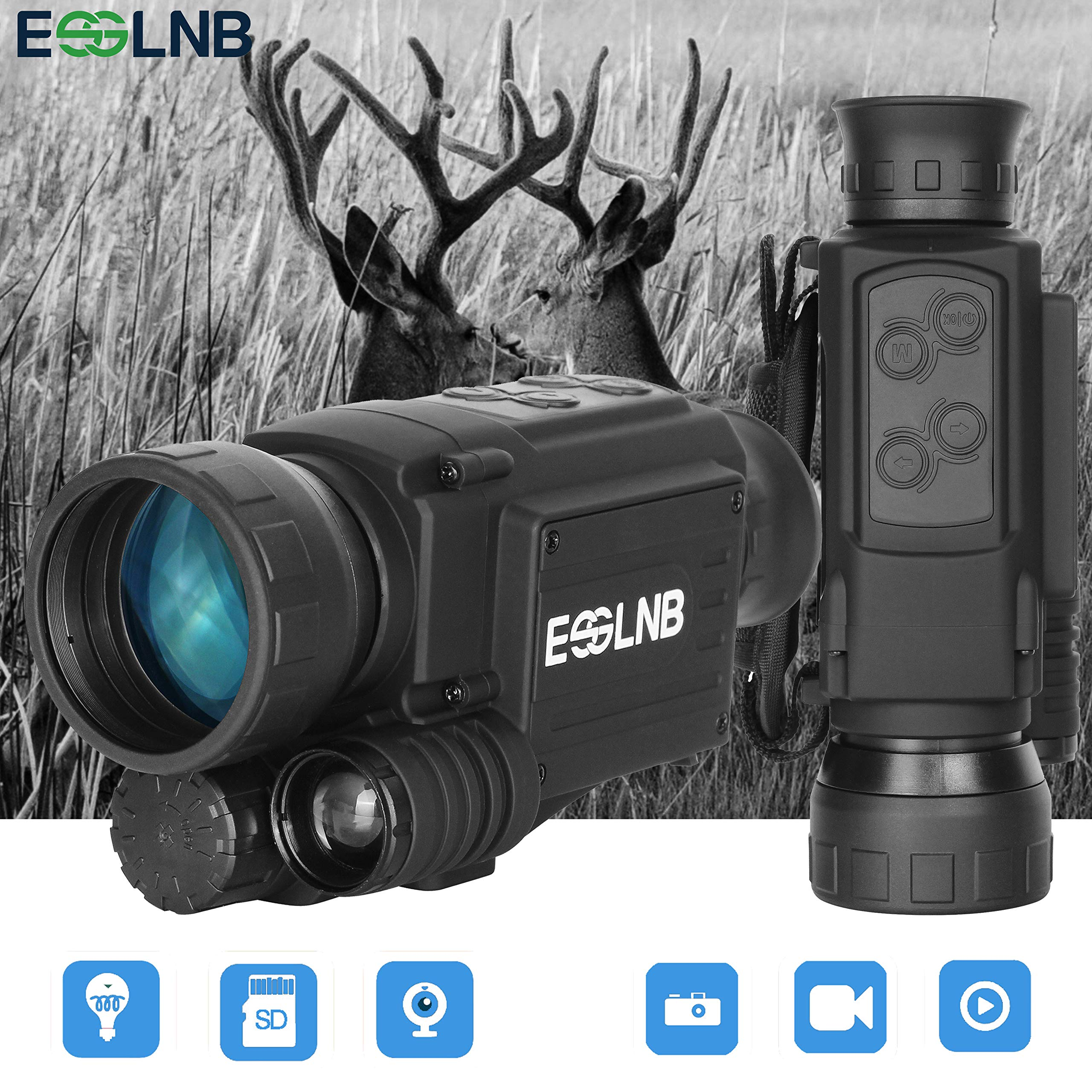ESSLNB Night Vision Monocular 40mm Night Vision Infrared Scope for Night Hunting 4.5X Digital Night Vision IR Camera 656ft LCOS Screen 8GB TF Card Recording Image and Video Playback Function by ESSLNB
