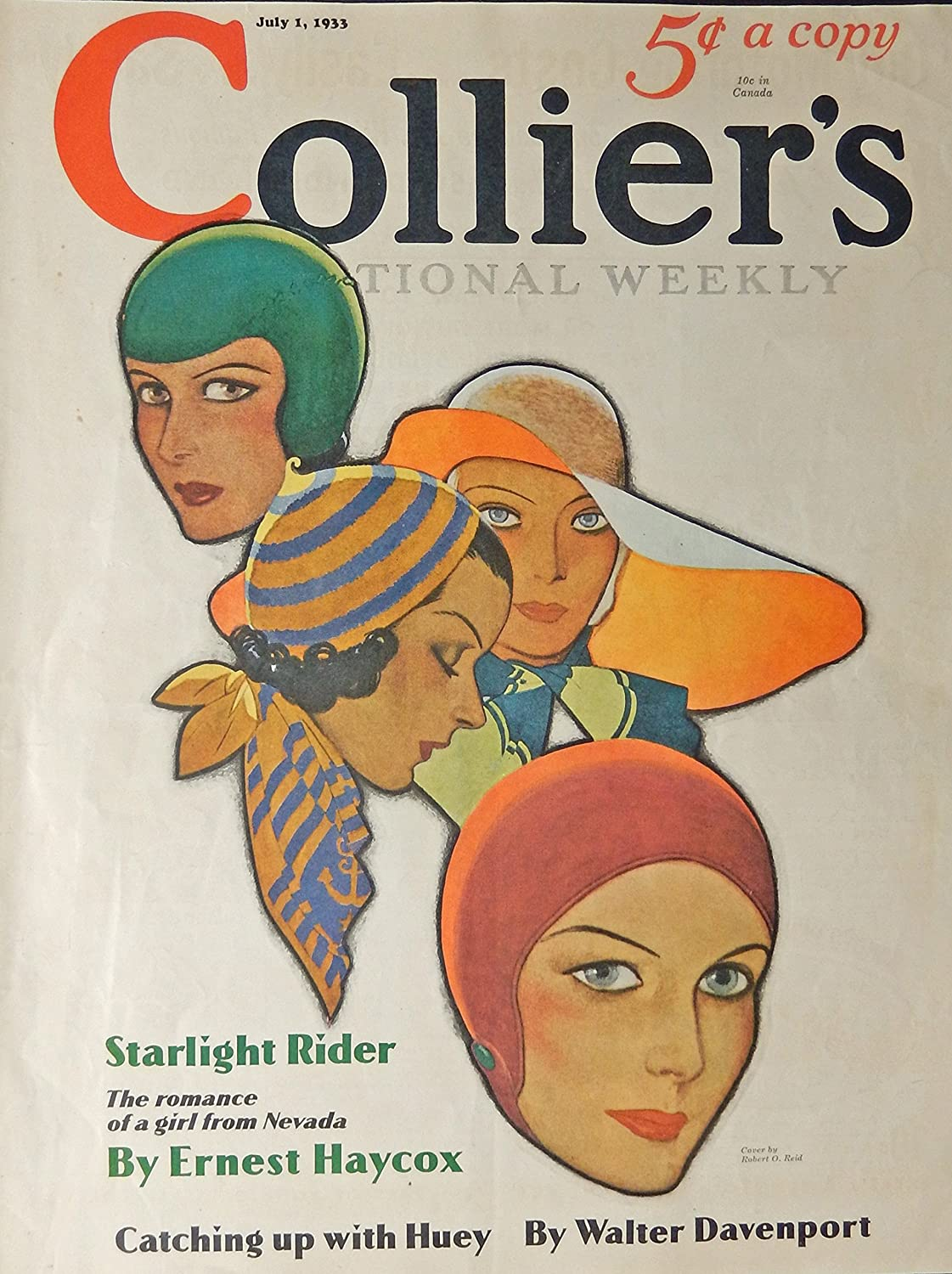 1933 Collier's Magazine, Color Illustration by Robert O. Reid. July 1933 cover art only