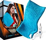 "MIGHTY BLISSTM Large Electric Heating Pad for Back Pain and Cramps Relief -Extra Large [12""x24""] - Auto Shut Off - Heat Pad with Moist & Dry Heat Therapy Options - Hot Heated Pad"