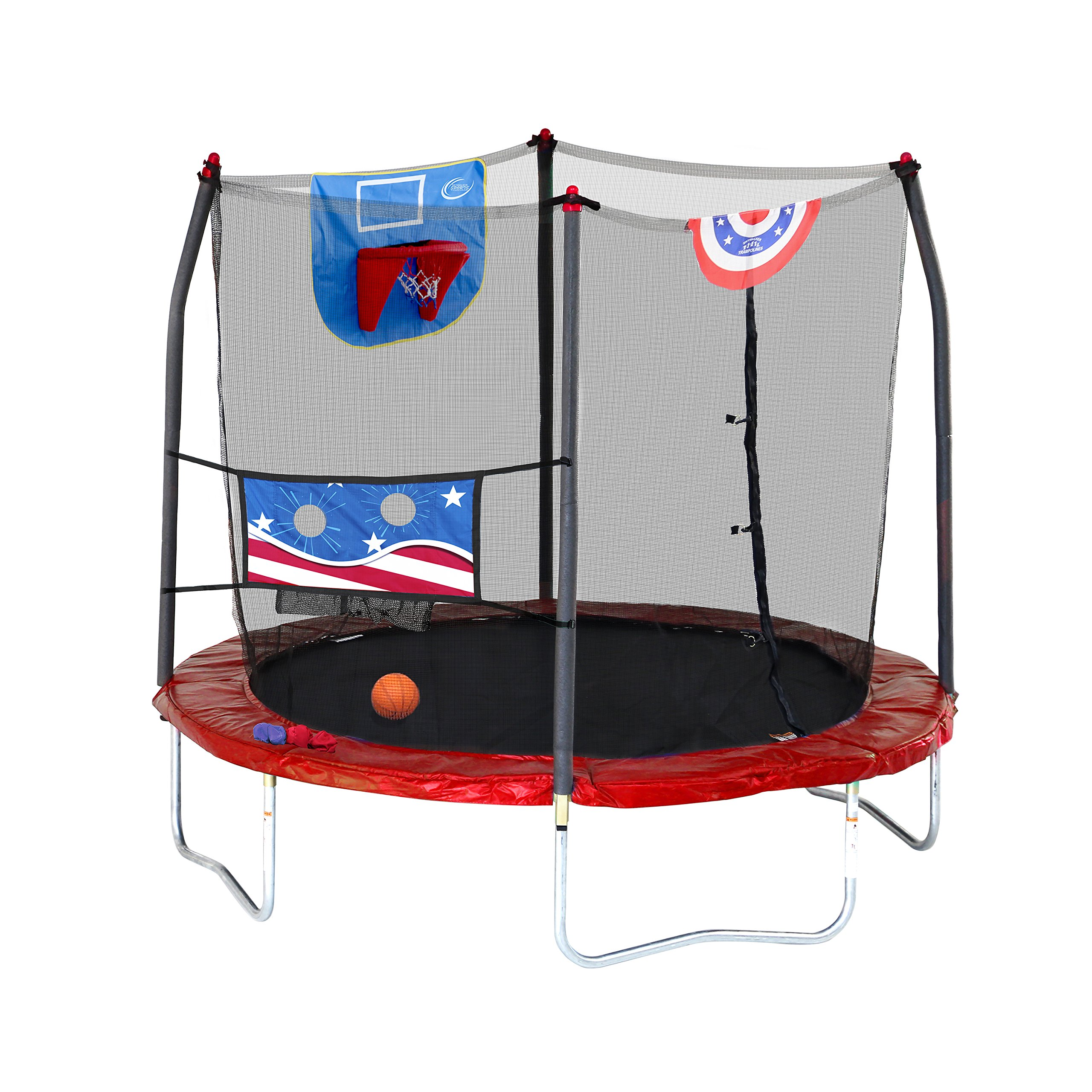 Skywalker Trampolines Stars & Stripes Jump N' Dunk 8' Trampoline with Safety Enclosure Basketball Hoop