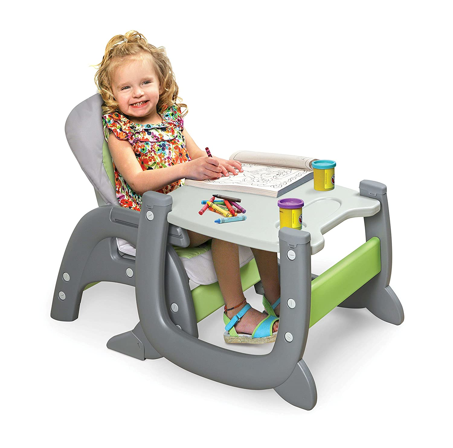 Gray//Green Badger Basket Envee II Baby High Chair with Playtable Conversion