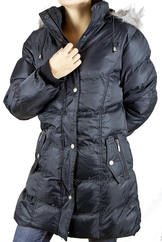 Damen Wintermantel mit Kapuze und flauschigen Teddy Fleece Innenfutter