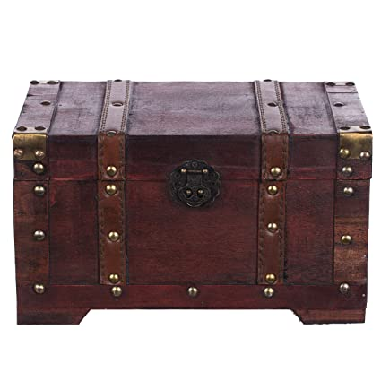 Baúl HS 130524 baúl, Cofre baúl, Cofre del Tesoro, madera, caja pirata, muebles pequeños, con herrajes de metal, acabado antiguo, madera, diferentes ...