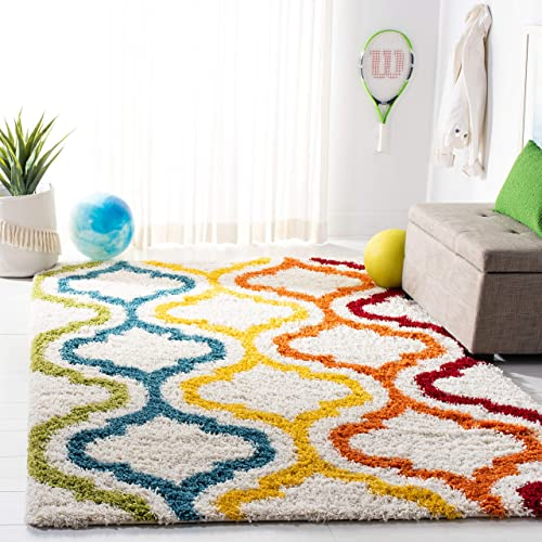 Safavieh Kids Shag Collection SGK561A Ivory and Multi Area Rug 4 x 6