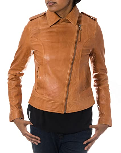 84fb71e9c2f0 Ladies Tan Brando New Biker Style Real Soft Leather Cross Zip Fitted Jacket  £109.99 (