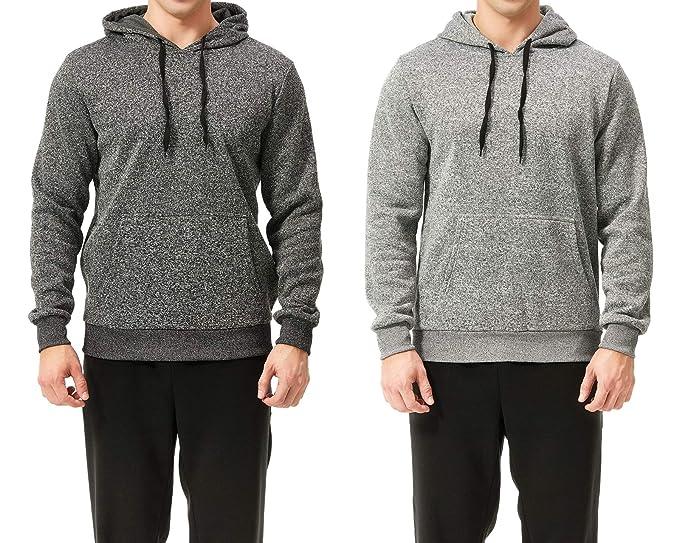 TEXFIT 2-Pack Men's Fleece Hoodies, Pullover Sweatshirt Hoodie with Front Kangaroo Pockets (Black/Light Grey, Small)