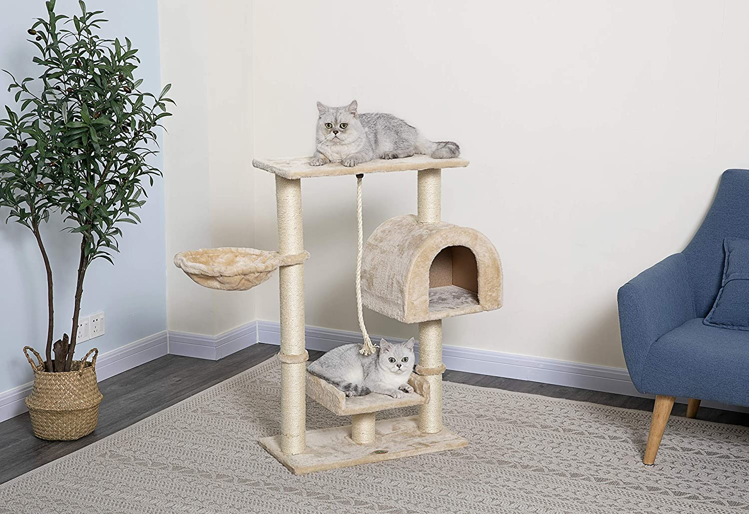 "Go Pet Club Beige 36"" Cat Tree Condo with Side Basket"