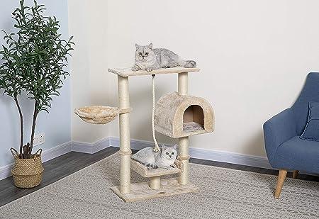Amazon Com Go Pet Club Small Cat Tree Furniture Beige Pet Supplies