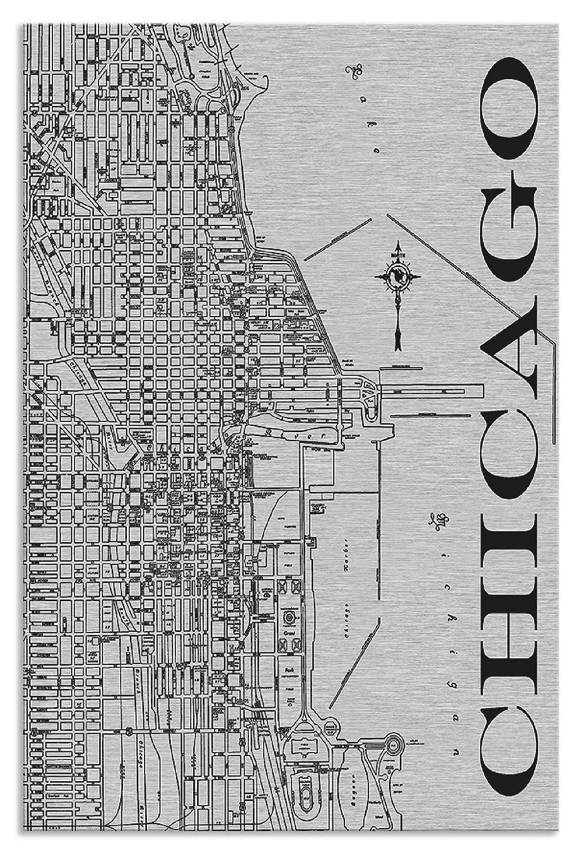 Artland Metallposter Silber I Wandbild Metall - Magnet Halterung 45x67,5 cm Alu Poster Hochformat Stadtplan Chicago Bild Schwarz J2NT