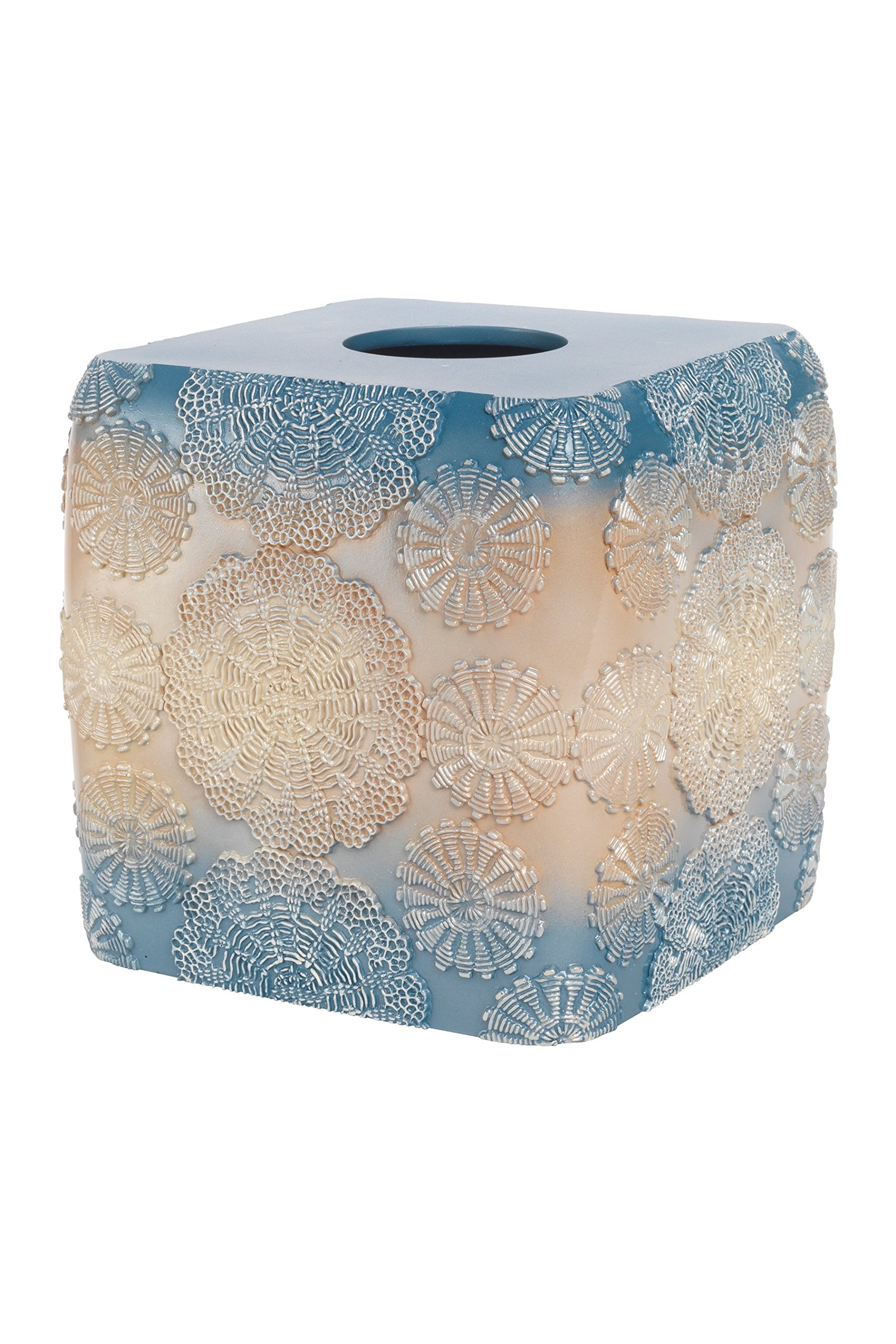 Popular Bath Tissue Box, Fallon Collection, Teal/Beige by Popular Bath