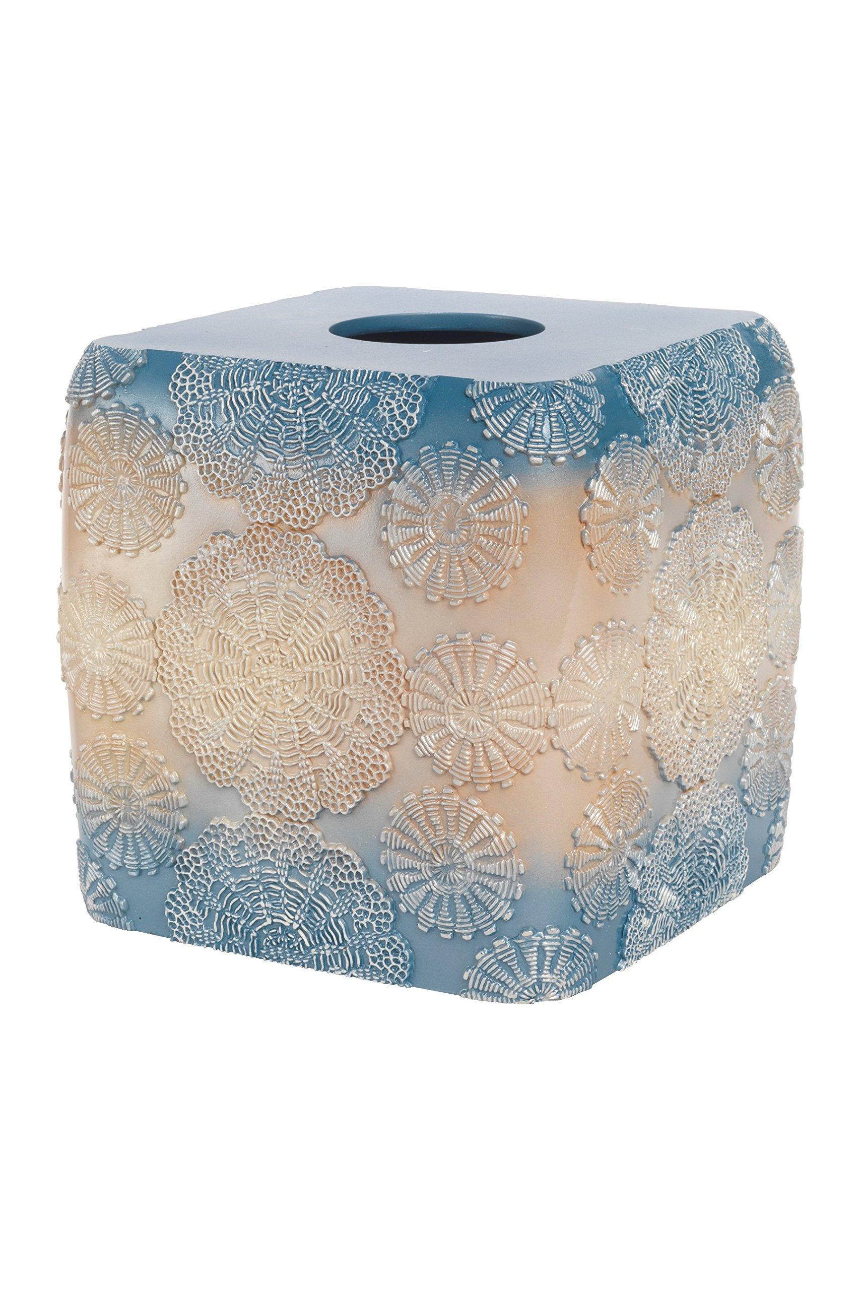Popular Bath Tissue Box, Fallon Collection, Teal/Beige