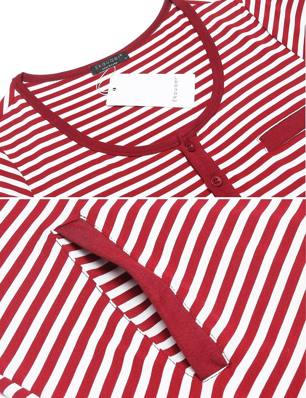 Ekouaer Womens Short Sleeve delivery//Maternity//Nursing Nightgown Pregnancy Gown Striped Night Sleep Dress