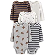 Simple Joys by Carter's Boys' 5-Pack Long-Sleeve Bodysuit, Bears/Animals Green/Stripes, Preemie