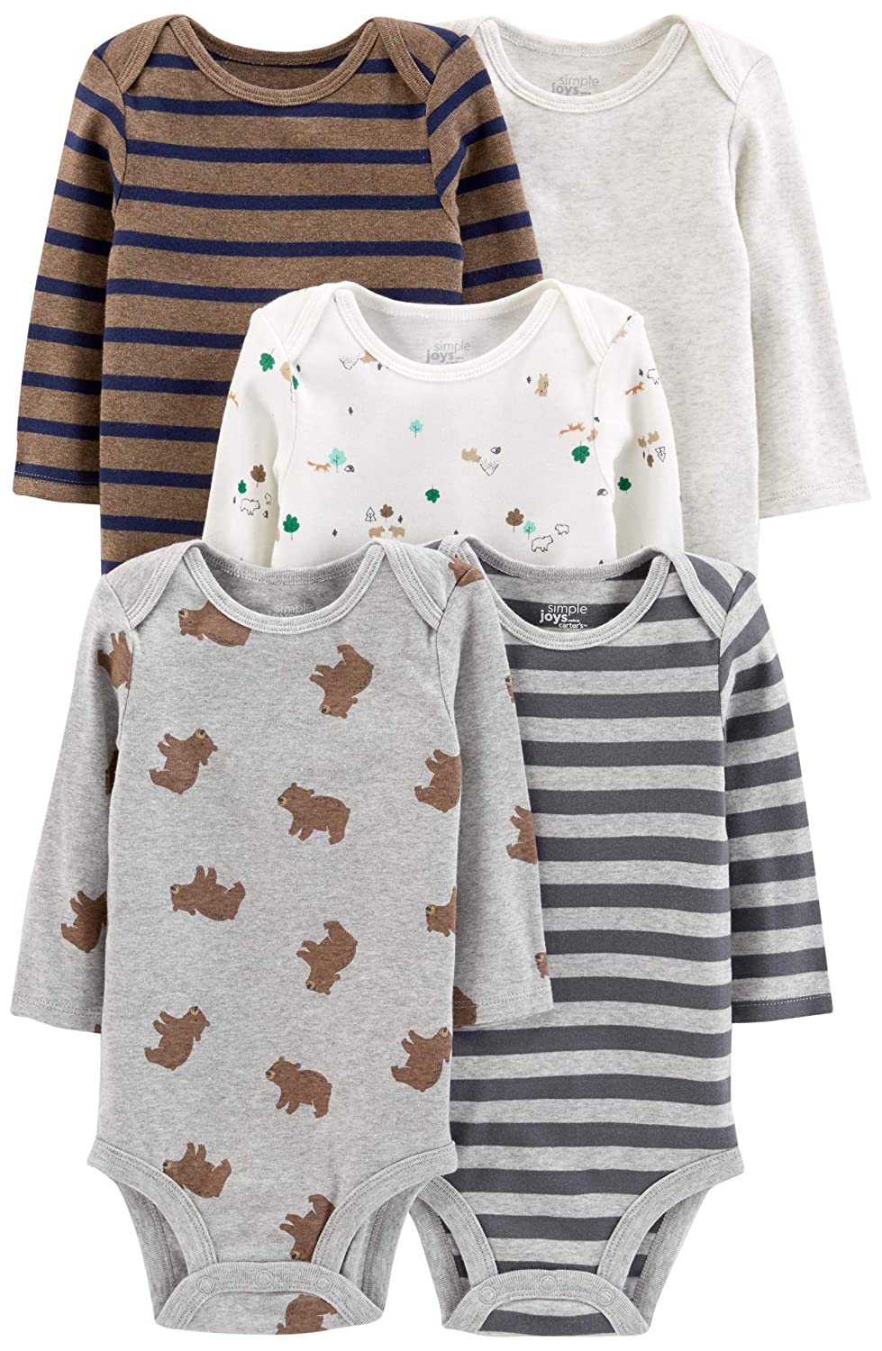 Bears//Animals Green//Stripes Simple Joys by Carters Boys 5-Pack Long-Sleeve Bodysuit 12 Months