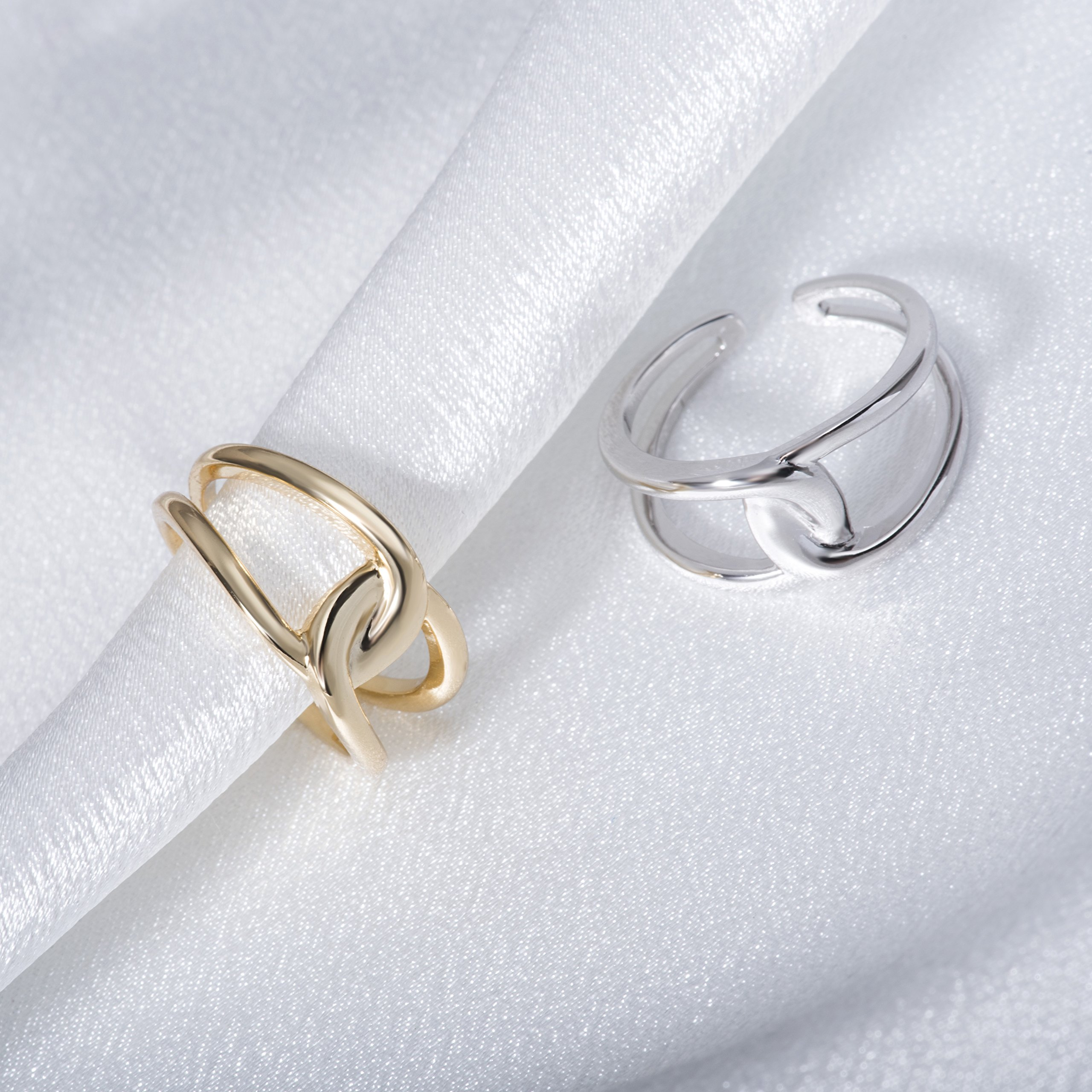 Fonsalette Gold Plated Infinity Ring Sterling Silver Open Twist Ring Two Band Ring (silver) by Fonsalette (Image #7)