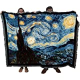 Starry Night - Vincent Van Gogh - Cotton Woven Blanket Throw - Made in The USA (72x54)