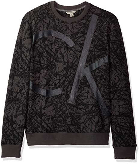 224c9275110 Calvin Klein Jeans Men s Distressed Graffiti Print Crew Neck Sweatshirt