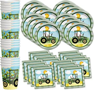 Farm Tractor Time Birthday Party Supplies Set Plates Napkins Cups Kit for 16