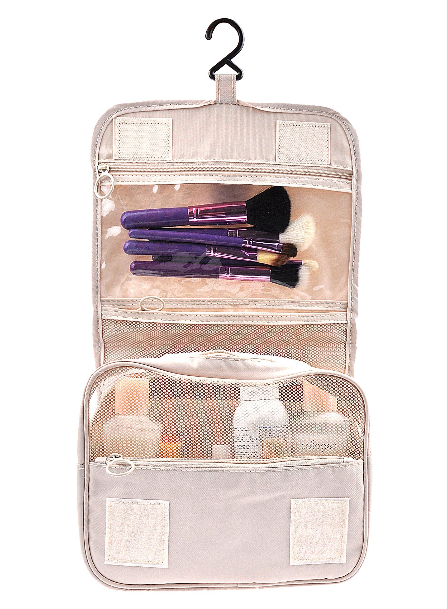 Cosmetic Makeup Bag Case, Hanging Toiletry Bag, Travel Organizer Travel Kit For Women Men, Cream Beige