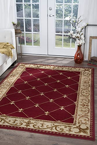 Orleans Traditional Border Red Rectangle Area Rug, 9 x 12