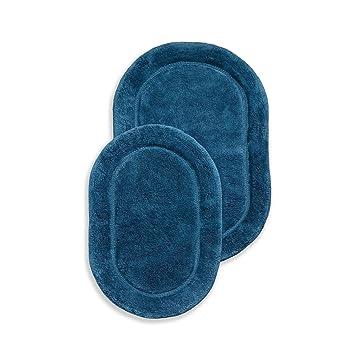 2 Piece Sapphire Luxurious Cotton Bath Rug Set Of 2 Mat Non