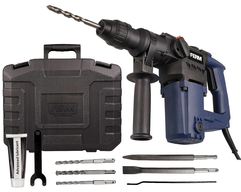 Bohren FERM Bohrhammer 850W Hammerbohren und Mei/ßeln Seitengriff 3x SDS Plus Bohrk/öpfen und 2x SDS Plus Werkzeugk/öpfen Inkl