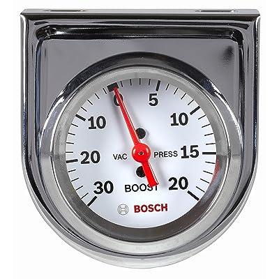 """Bosch SP0F000042 Style Line 2"""" Mechanical Vacuum/Boost Gauge (White Dial Face, Chrome Bezel): Automotive"""