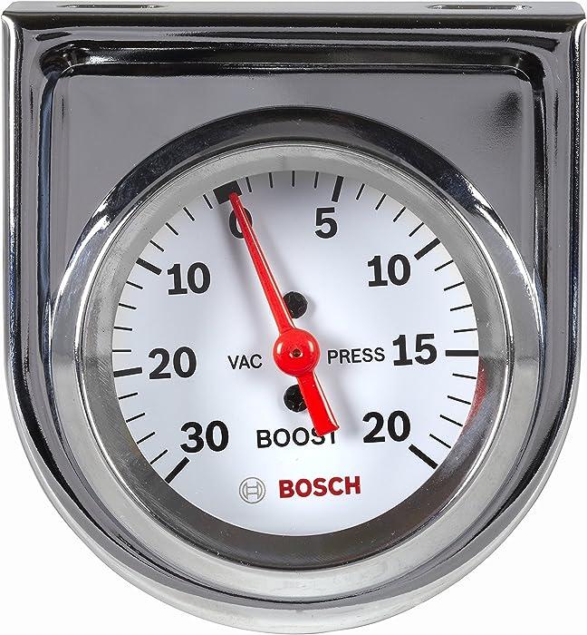 "Bosch SP0F000042 Style Line 2"" Mechanical Vacuum/Boost Gauge (White Dial Face, Chrome Bezel)"