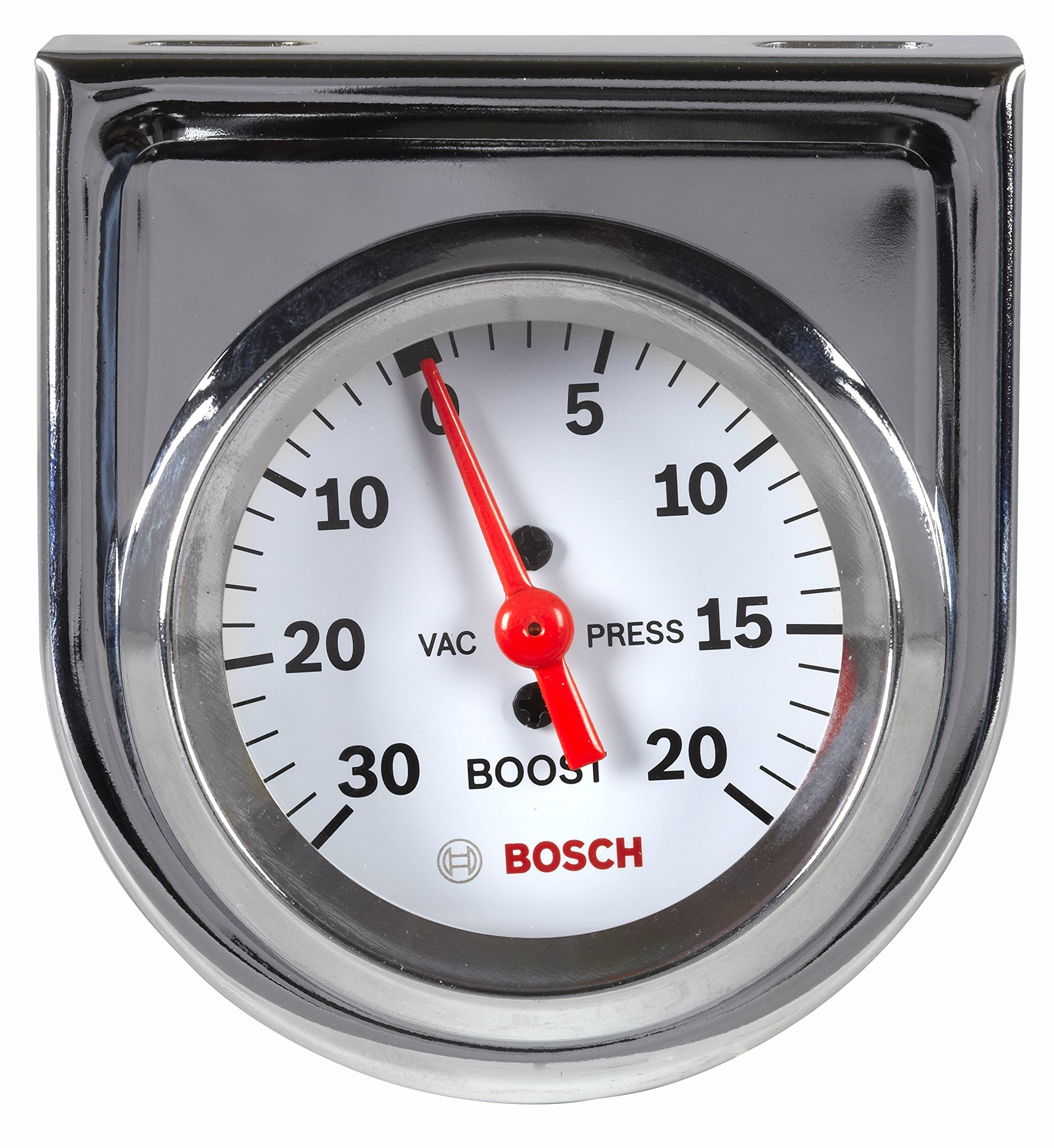 Bosch SP0F000042 Style Line 2'' Mechanical Vacuum/Boost Gauge (White Dial Face, Chrome Bezel)