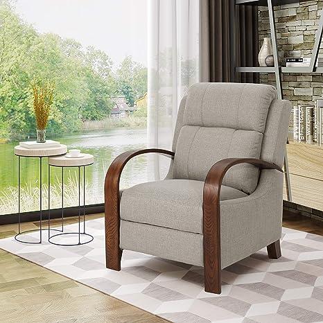 Amazon.com: Randall madera expuesta tradicional tela sillón ...