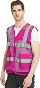 TOPTIE Unisex US Big Mesh Volunteer Vest Zipper Front Safety Vest with Reflective Strips and Pockets-Hot Pink-US XL
