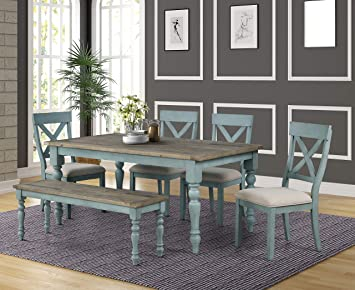 Amazon Com Roundhill Furniture Prato 6 Piece Table Set With Cross Back Chairs And Dining Bench Blue Table Chair Sets