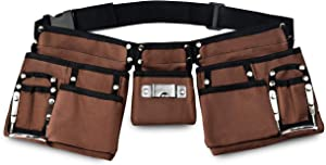 GlossyEnd 11 Pocket Brown 600D Polyester Kids Tool Belt, Work Apron Great for Pretended Play Role, with Adjustable Poly Web Belt Quick Release Buckle