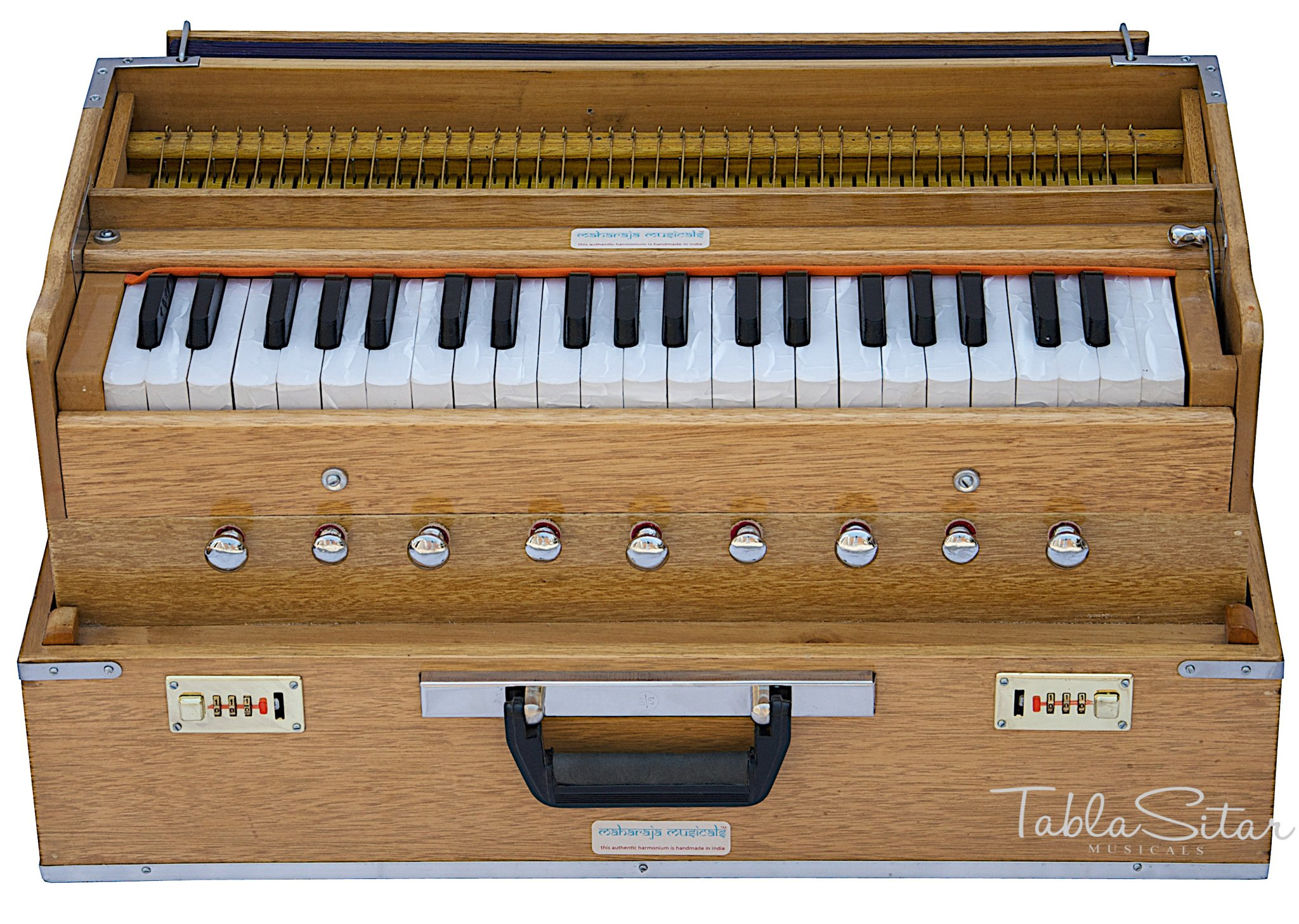 Harmonium by Maharaja Musicals, Folding, 9 Stops, In USA, Portable, Natural Color, 3 1/2 Octaves, Tuned to A440, Coupler, Book, Bag, Indian Musical Instrument (PDI-AHH) by Maharaja Musicals