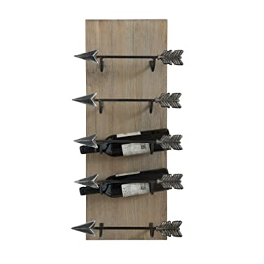 Creative Co-op DA6810 Wood & Metal Wall Wine Rack with Arrows