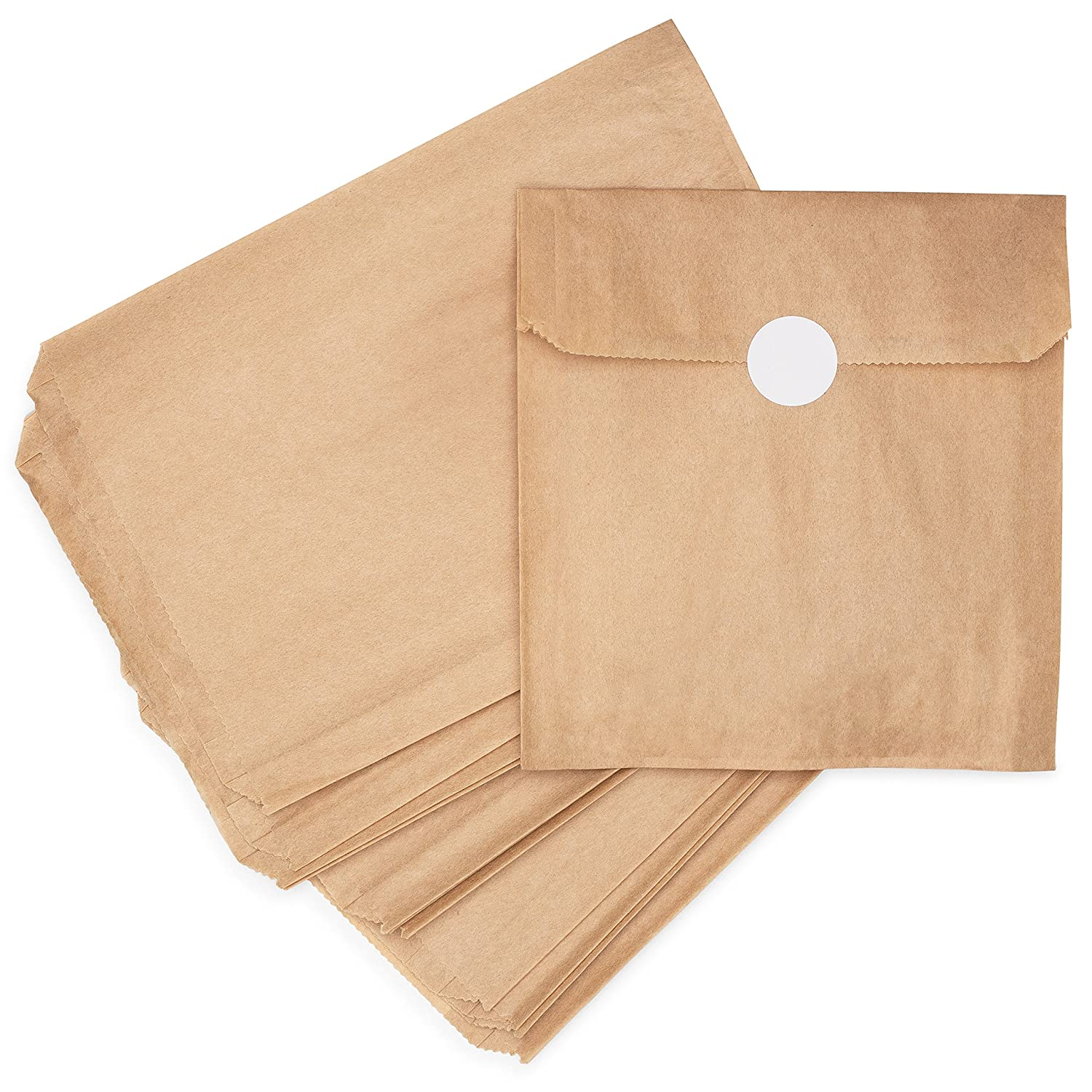 Natural Kraft Brown Paper Snack Sandwich Bags + White Stickers for Sealing. 100% Chlorine-Free, Unbleached, Eco Alternative to Plastic Fold ...