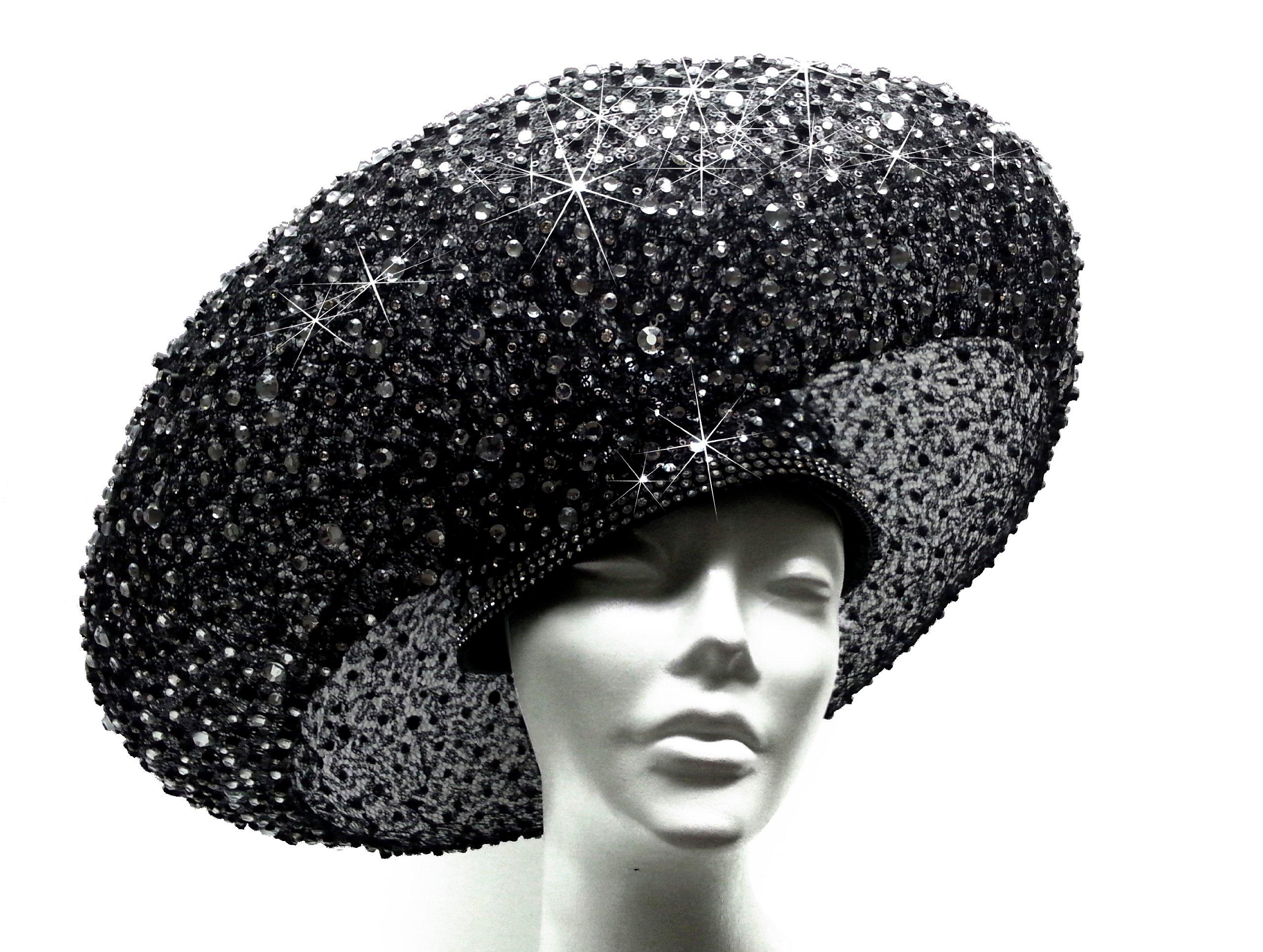 Jet Black Paillette Hat Haute Couture Stella Rhinestones ''Bird Nest''