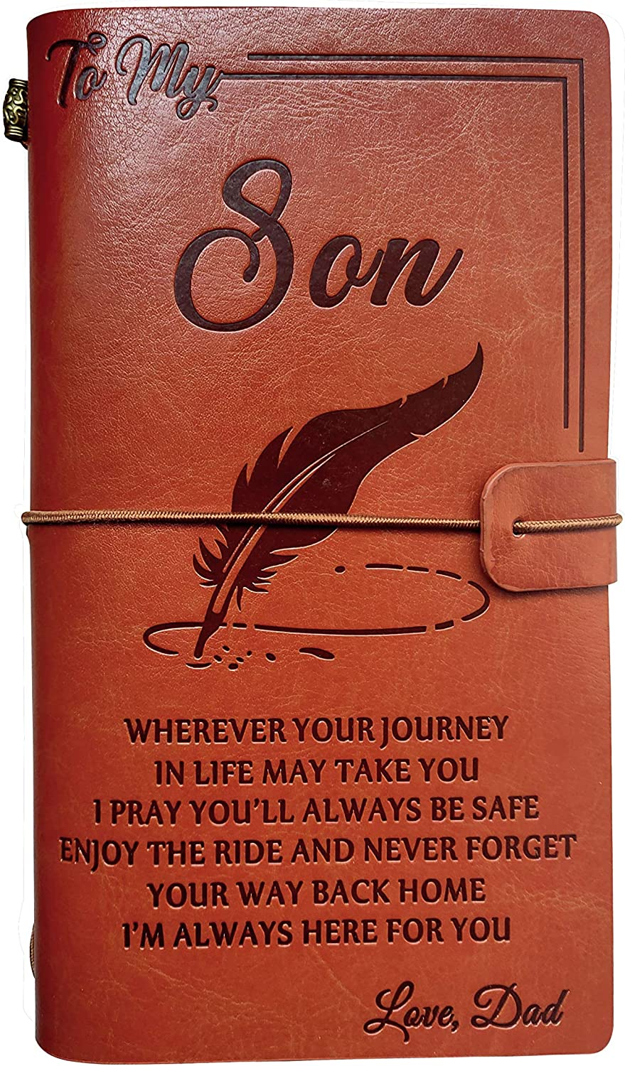 from Dad to My Son Leather Journal -I Pray You'll Always be Safe, Enjoy The Ride and Never Forget Your Way Back Home- 2 Refillable Notepads Writing Diary Gift for Boys(from Dad to Son)