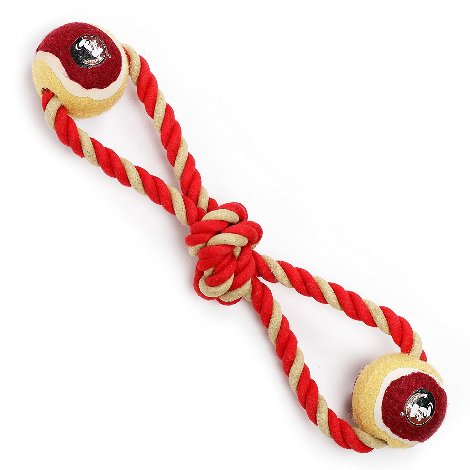 Pet Goods Manufacturing Florida State Seminoles Double Ball with Dog Toy Rope