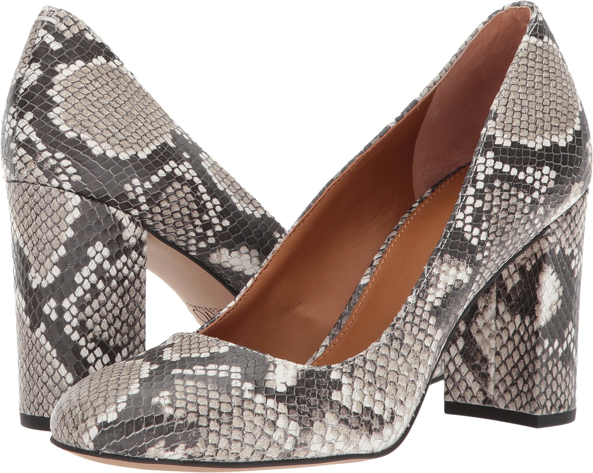 Franco Sarto Women's Aziza Shiny Printed Natural Snake 9 B(M) US by Franco Sarto