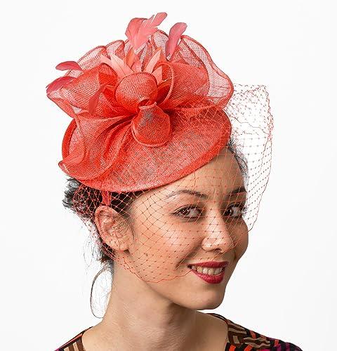 7f802d14 Amazon.com: Kentucky Derby Coral Fascinator Hat Veil Headband: Handmade