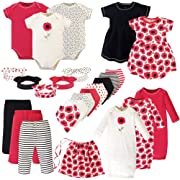 Touched by Nature Unisex Baby Girls Layette Giftset Bundle with Laundry Bag, Poppy Pack, 0-6 Months (6M)