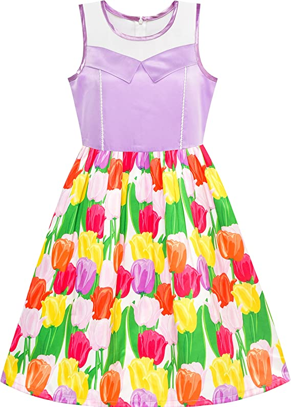 Age 5-12 Floral Design FREE UK Delivery 100/% Cotton Girls Party Dress